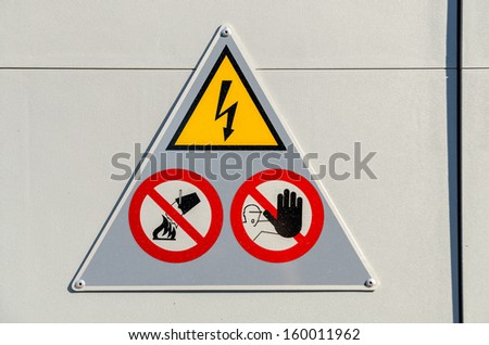 High Voltage Electricity Danger Sign Warning - stock photo