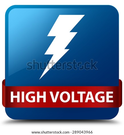 High voltage (electricity icon) blue square button - stock photo