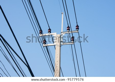 High-voltage electricity transmission line is a line. - stock photo