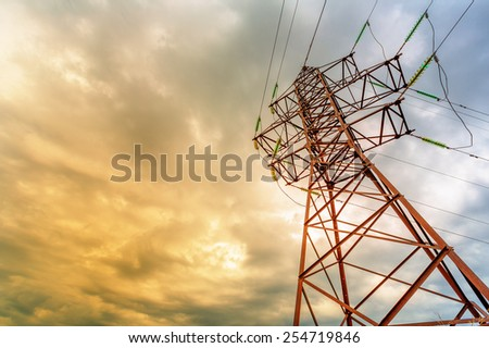 High voltage line on a background of thunderclouds - stock photo