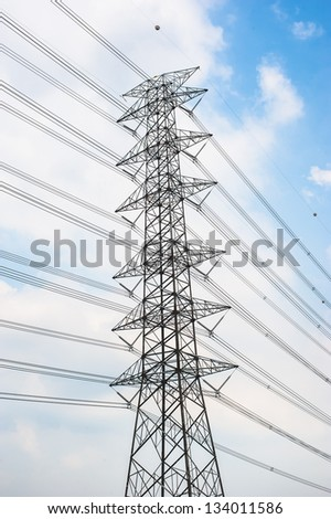 High voltage Pole - stock photo