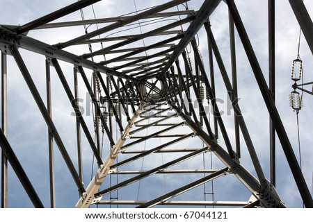 High Voltage Pole from Below-Inside - stock photo