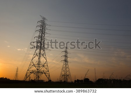 High voltage pole  Sunset light