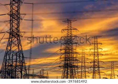 High voltage pole, Transmission line tower in Thailand