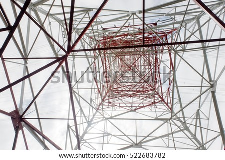 high voltage pole viewed from below