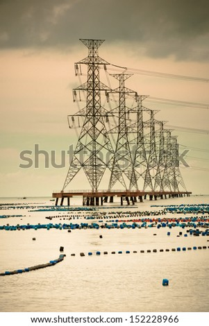 High voltage post - stock photo