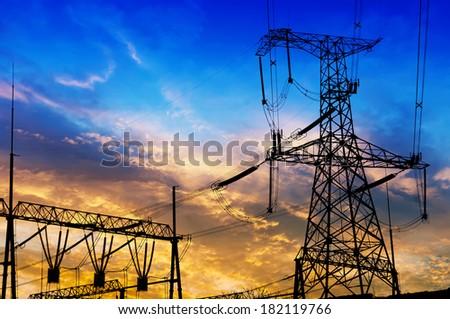 high voltage post. - stock photo