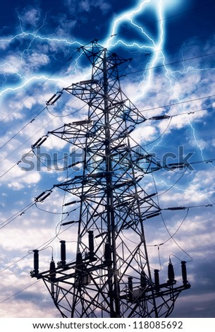 high voltage post.High-voltage tower sky background. - stock photo