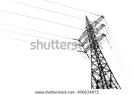 High voltage post or High voltage tower isolated on white background
