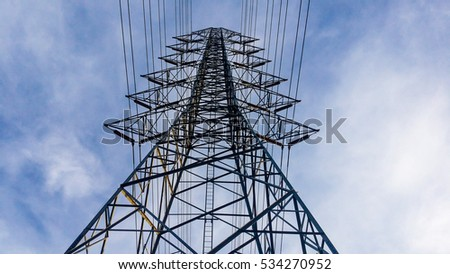 High voltage post or tower sky background