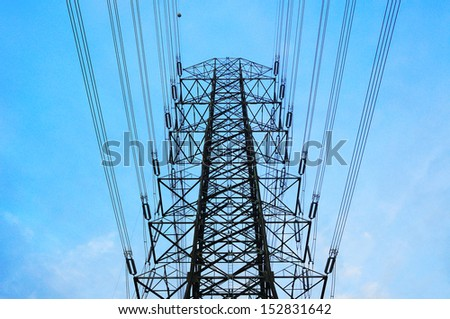 high voltage power electricity tower - stock photo