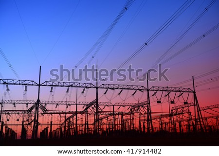 High voltage power grid - stock photo