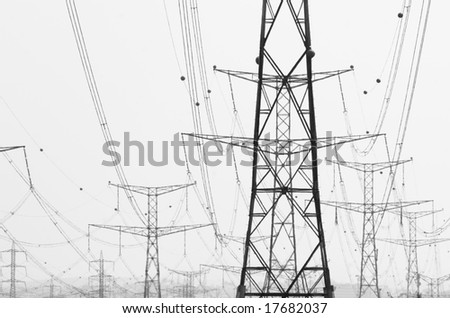 High voltage power lines - stock photo