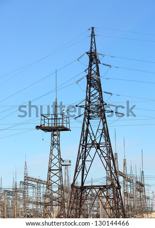 High voltage power lines  blue sky