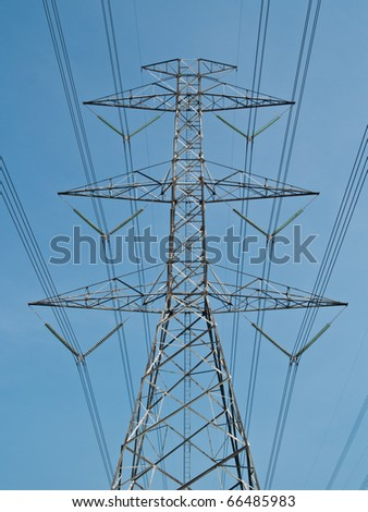 High voltage power pole - stock photo