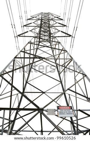 High voltage power pole on white background with danger sign - stock photo