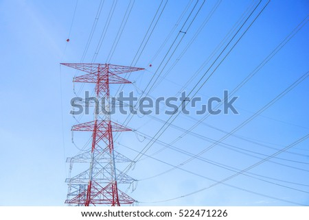 High voltage power pole with nice sky