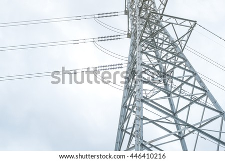 High voltage power pylon tower - stock photo
