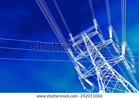 High voltage power tower pylon and line cables - stock photo