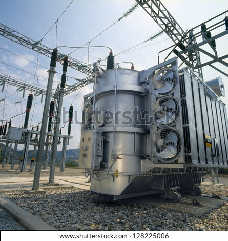 High-voltage power transformer - stock photo