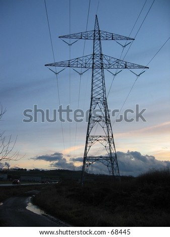 High voltage pylon - stock photo