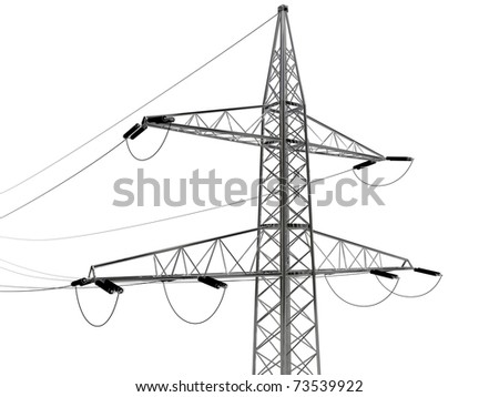 high voltage pylon isolated on white background
