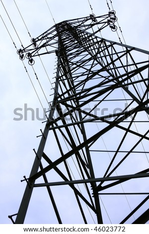 High-voltage pylon structure silhouette