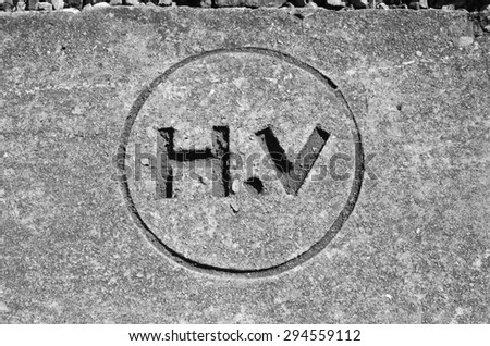 high voltage sign black and white tone. - stock photo