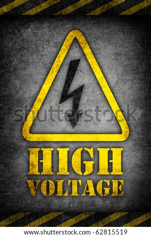 high voltage sign in grunge style - stock photo