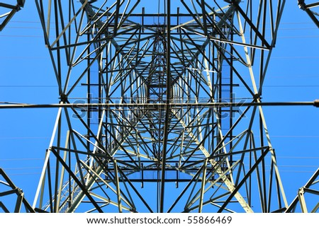 High voltage tower on a background of the sky. - stock photo