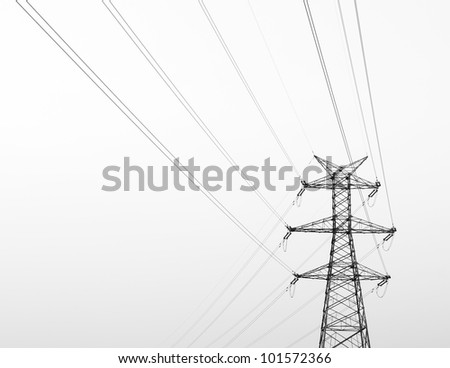 High-voltage tower sky background. - stock photo