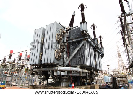High voltage transformer - stock photo