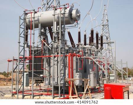 High voltage transformer with fire protection system in outdoor switchgear.