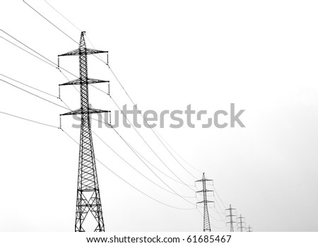 high voltage transmission line - stock photo