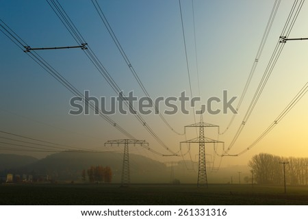 High-voltage transmission line, early in the morning