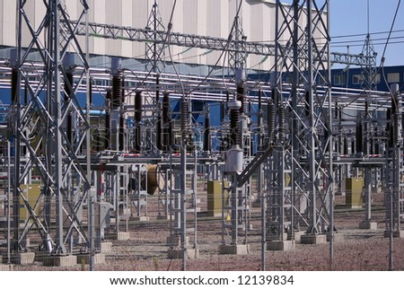 High voltage transmission lines - stock photo