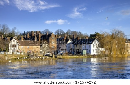 High water levels on the River Severn, Bewdley, Worcestershire, England. - stock photo