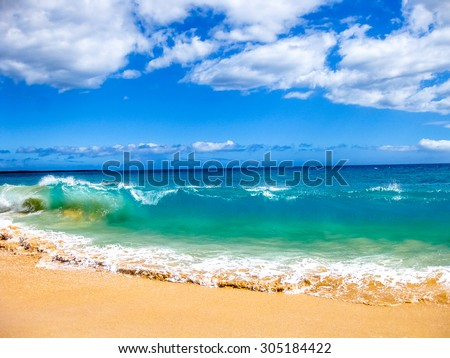 High waves of the famous Big Beach in summer, Makena State Park in Maui, Hawaii, United States. - stock photo