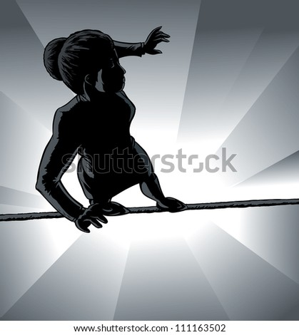 High wire business girl outline - stock photo