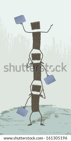 Higher!. Three business people climbing over each other. - stock photo