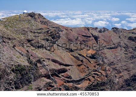 Highest peak with telescope of crater Caldera de Taburiente at La Palma, Canary Islands - stock photo