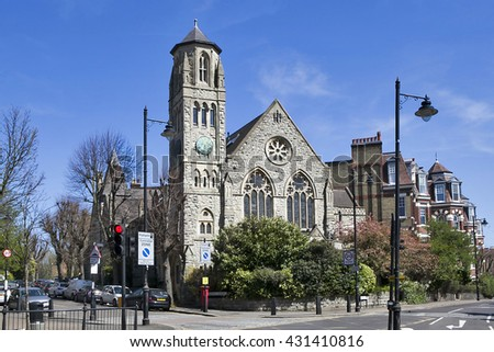 HIGHGATE - APRIL 2014: Old church conversion retains numerous apartments design, Highgate, London, 28 June, 2016. Highgate is one of  most expensive London suburbs to live in 18th century architecture
