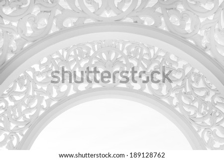 Highkey image of a beautiful intricate pattern at public mosque in Terengganu, Malaysia - stock photo