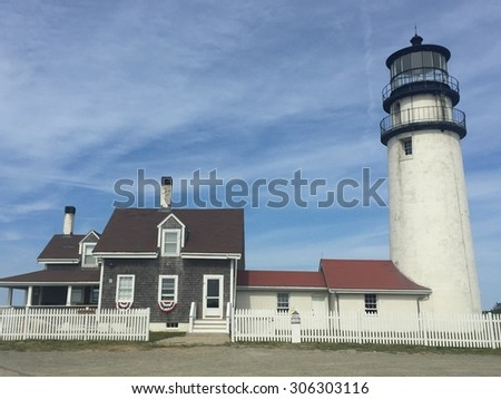Highland Lighthouse (Cape Cod Light), the oldest and tallest lighthouse on Cape Cod, in Massachusetts