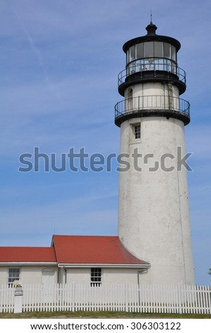 Highland Lighthouse (Cape Cod Light), the oldest and tallest lighthouse on Cape Cod, in Massachusetts - stock photo