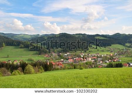 Highland Village Velke Karlovice in the Czech Republic - stock photo