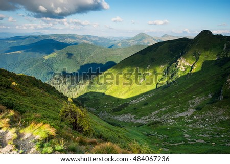 highlands, mountains landscape in summer, European mountain