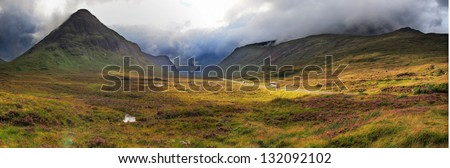 highlands valley of scotland with mountains - stock photo