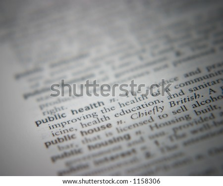 Highlight of public health in a dictionary - stock photo