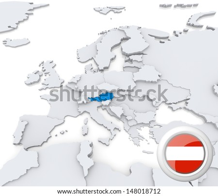 Highlighted Austria on map of europe with national flag - stock photo